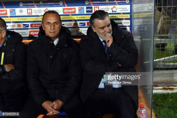 Michel Der Zakarian Coach and Laurent Nicollin President of Montpellier during the Ligue 1 match between Montpellier Herault SC and Amiens SC at...
