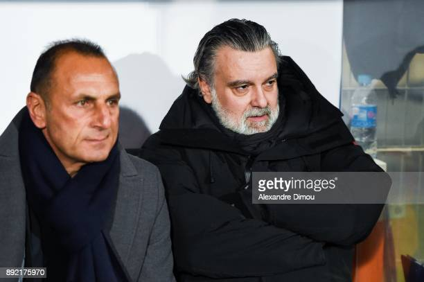 Michel Der Zakarian Coach and Laurent Nicollin President of Montpellier during the french League Cup match Round of 16 between Montpellier and Lyon...
