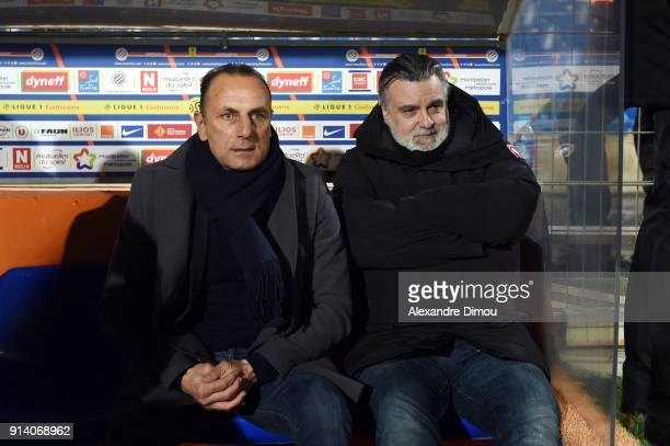 Michel Der Zakarian Coach and Laurent Nicollin President of Montpellier during the Ligue 1 match between Montpellier and Angers at Stade de la Mosson...