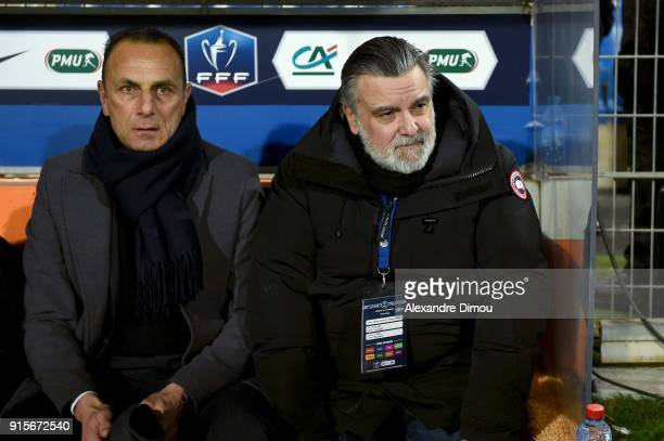 Michel Der Zakarian Coach and Laurent Nicollin president of Montpellier during the French Cup match between Montpellier and Lyon at Stade de la...