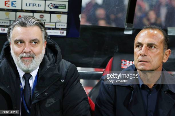 Michel Der Zakarian Head coach of Montpellier and Laurent Nicollin president of Montpellier during the French League Cup match between EA Guingamp...