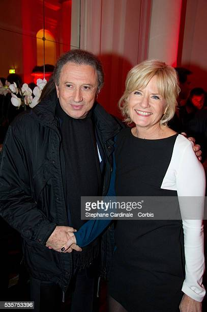 Michel Drucker and Catherine Ceylac attend the TV Mag Anniversary 25th at Hotel Plaza Athenee in Paris