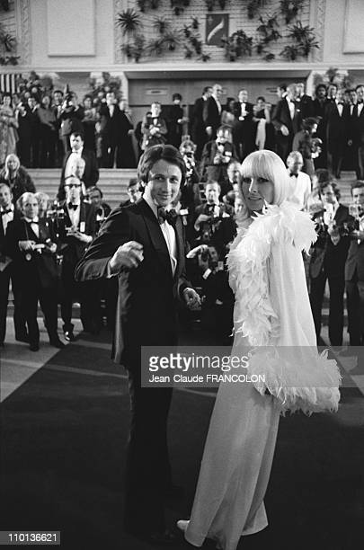 Michel drucker and his wife Dany Saval at Film Festival in CannesFrance on May 14th1973