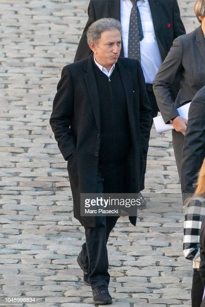 Michel Drucker attends the national tribute to Charles Aznavour at Les Invalides on October 5, 2018 in Paris, France. French singer Charles Aznavour...