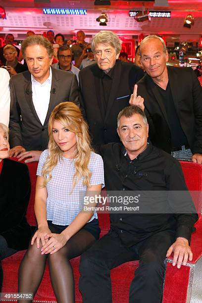 Michel Drucker JeanPierre Mocky Laurent Baffie Lola Bigard and her husband Main guest of the Show JeanMarie Bigard attend the 'Vivement Dimanche'...