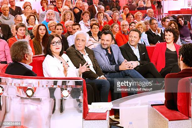 Michel Drucker Main guest of the show Nana Mouskouri Gerard Darmon Frederic Lopez Arthur and Anne Roumanoff the 'Vivement Dimanche' French TV Show at...