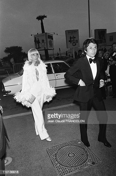 Michel drucker with his wife Dany Saval at Film Festival in CannesFrance on May 14th1973