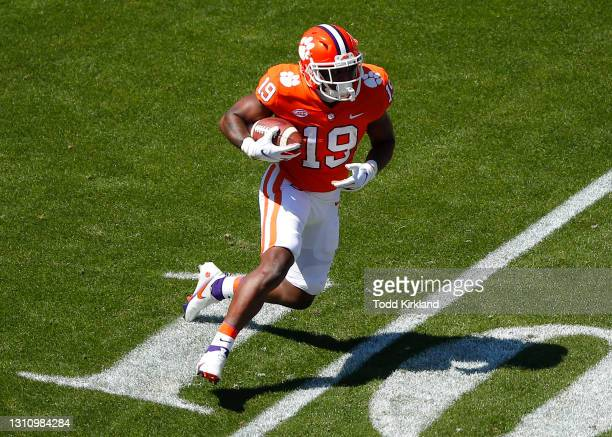 Michel Dukes of the Clemson Tigers rushes during the second half of the Clemson Orange and White Spring Game at Memorial Stadium on April 3, 2021 in...