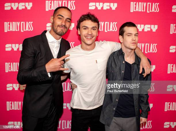 Michel Duval Benjamin Wadsworth and Liam James attend the premiere week screening of SYFY's Deadly Class hosted by Kevin Smith at The Wilshire Ebell...