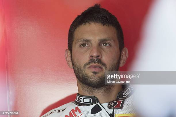 Michel Fabrizio of Italy and Althea Racing looks on in box during the qualifying practice during the World Superbikes Qualifying at Enzo Dino Ferrari...