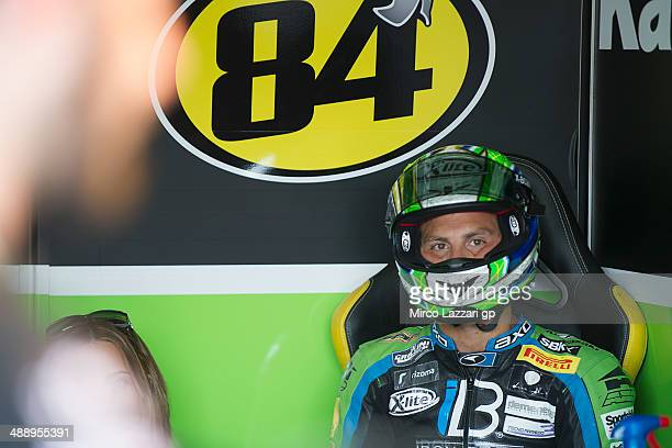 Michel Fabrizio of Italy and IRON BRAIN Grillini Kawasaki looks on in box during the World Superbikes Practice at Autodromo di Monza on May 9 2014 in...