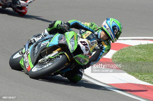 Michel Fabrizio of Italy and IRON BRAIN Grillini Kawasaki rounds the bend during the World Superbikes Qualifying at Enzo Dino Ferrari Circuit on May...