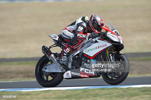 Michel Fabrizio of Italy and Red Devils Roma heads down a straight during qualifying practice ahead of the World Superbikes at Phillip Island Grand...