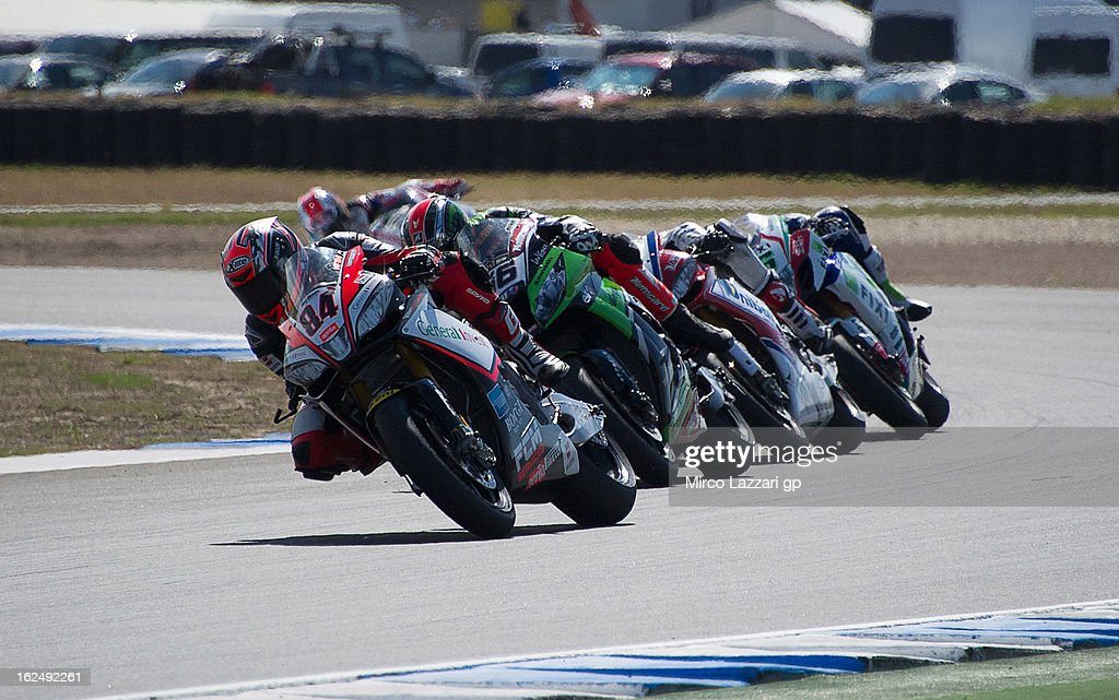 Michel Fabrizio of Italy and Red Devils Roma leads the field during race 2 of the first round of the 2013 Superbike FIM World Championship at Phillip Island Grand Prix Circuit on February 24, 2013 in Phillip Island, Australia.