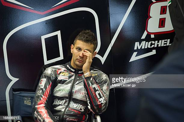 Michel Fabrizio of Italy and Red Devils Roma looks in box during the World Superbikes Practice of round four of 2013 Superbike FIM World Championship...