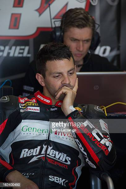 Michel Fabrizio of Italy and Red Devils Roma looks on in box during the qualifying during the round first of 2013 Superbike FIM World Championship at...