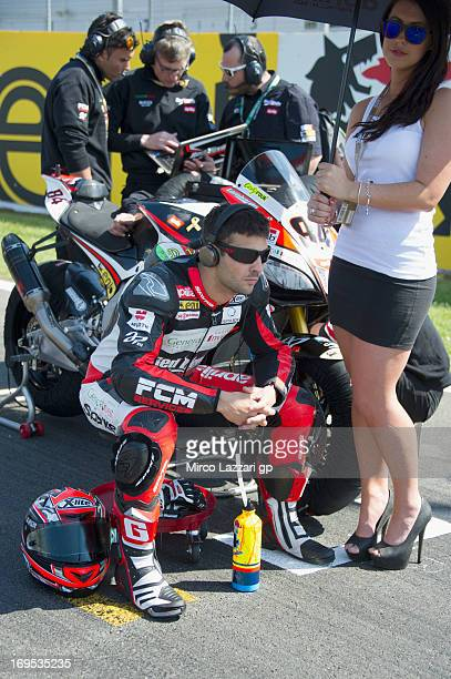 Michel Fabrizio of Italy and Red Devils Roma prepares to start on the grid ahead of race 2 of the World Superbikes Race during the round five of 2013...