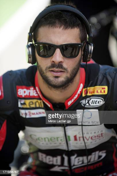 Michel Fabrizio of Italy and Red Devils Roma prepares to start on the grid during the race 2 of World Superbikes Race during the round seven of 2013...