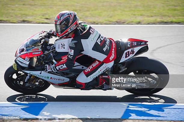 Michel Fabrizio of Italy and Red Devils Roma rounds the bend during the qualifying during the round first of 2013 Superbike FIM World Championship at...