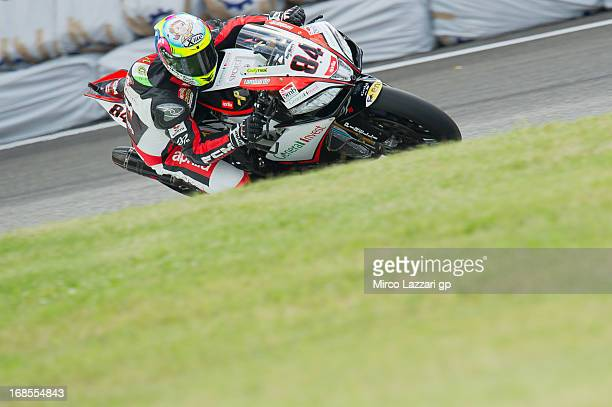 Michel Fabrizio of Italy and Red Devils Roma rounds the bend during the World Superbikes Qualifying during the round four of 2013 Superbike FIM World...
