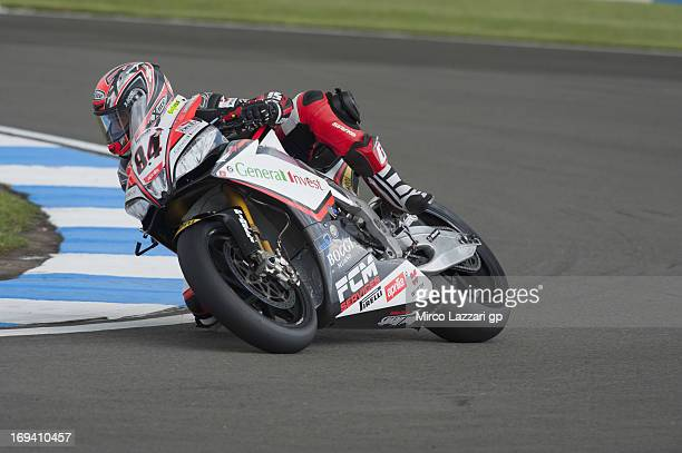 Michel Fabrizio of Italy and Red Devils Roma rounds the bend during the World Superbikes Practice during the round five of 2013 Superbikes FIM World...