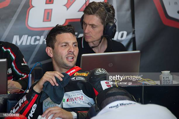 Michel Fabrizio of Italy and Red Devils Roma speaks in box during the qualifying during the round first of 2013 Superbike FIM World Championship at...
