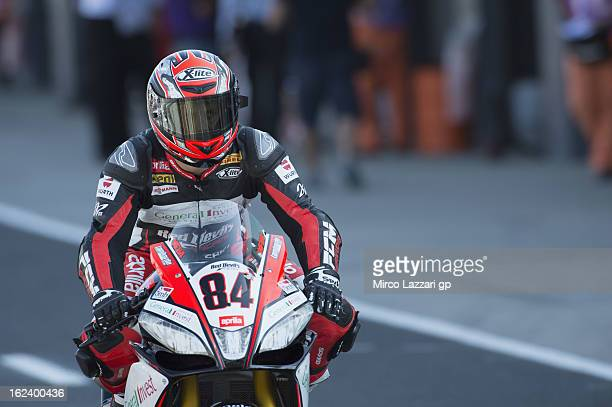 Michel Fabrizio of Italy and Red Devils Roma starts from box during the qualifying during the round first of 2013 Superbike FIM World Championship at...
