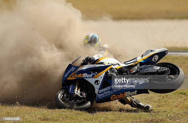 Michel Fabrizio of Italy and riding the BMW Motorrad Italia GoldBet SBK Team BMW crashes during race two of the 2012 Superbike FIM World Championship...