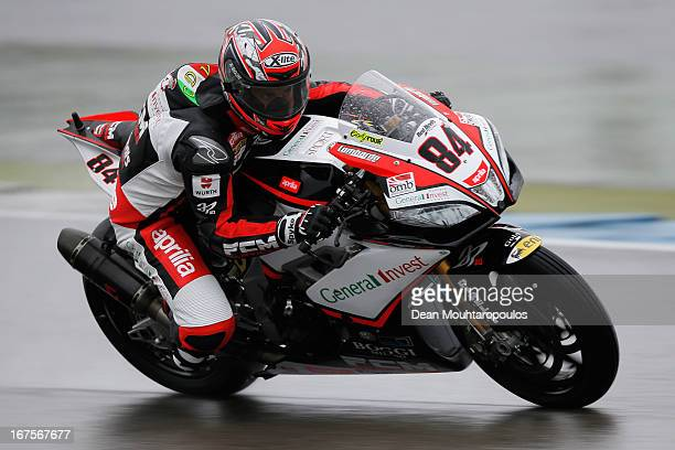 Michel Fabrizio of Italy on the Aprilia RSV4 Factory for Red Devils Roma competes during the World Superbikes Practice Session at TT Circuit Assen on...