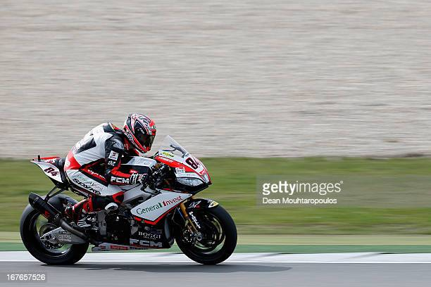 Michel Fabrizio of Italy on the Aprilia RSV4 Factory for Red Devils Roma competes during the World Superbikes Qualifying Session at TT Circuit Assen...
