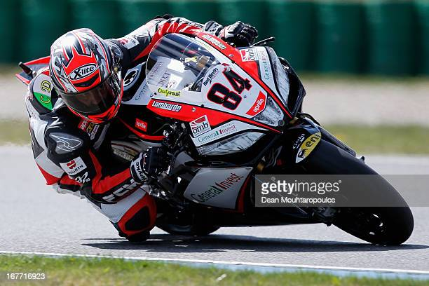 Michel Fabrizio of Italy on the Aprilia RSV4 Factory for Red Devils Roma competes during the World Superbikes race 1 at TT Circuit Assen on April 28...