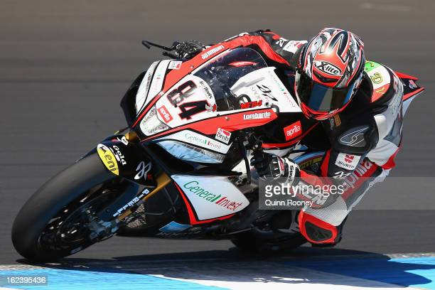 Michel Fabrizio of Italy riding the Red Devils Roma Aprilia during qualifying for the World Superbikes at Phillip Island Grand Prix Circuit on...