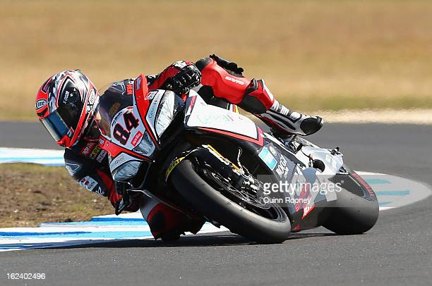 Michel Fabrizio of Italy riding the Red Devils Roma Aprilia during Superpole for the World Superbikes at Phillip Island Grand Prix Circuit on...
