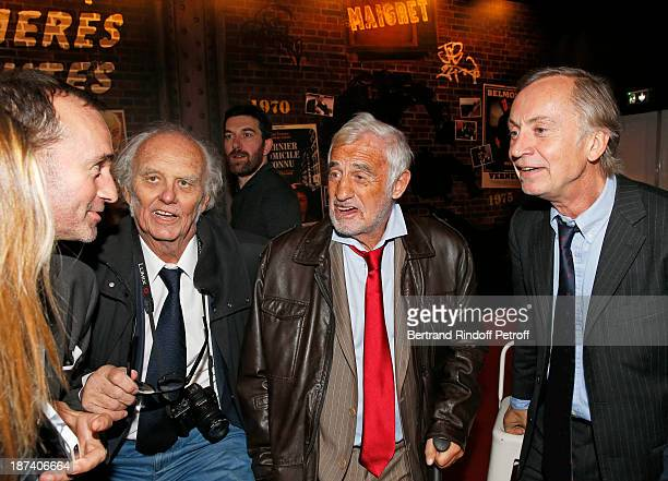 Michel Faury head of BRI journalist Christian Brincourt legendary actor JeanPaul Belmondo and lawyer Michel Godest share a light moment as they...