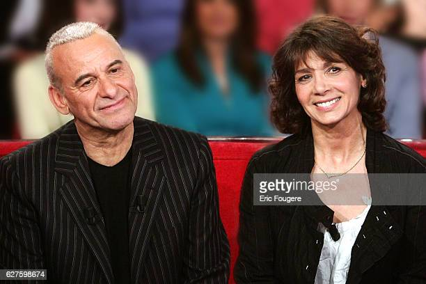 "Michel Fugain and his wife Stephanie on the set of TV show ""Vivement Dimanche""."