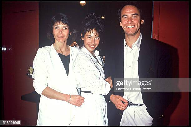 "Michel Fugain, daughter Marie and his wife Stephanie during the premiere of the movie ""Thank You Satan""."