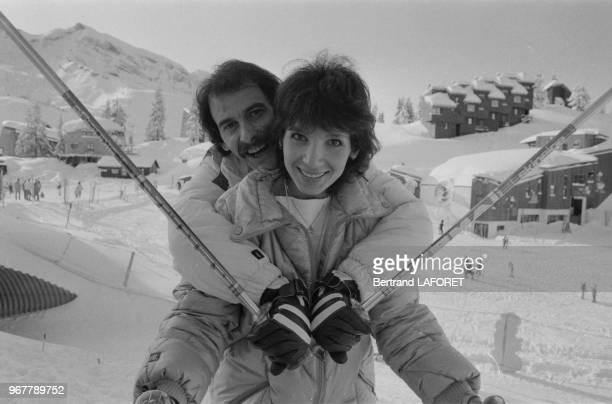 Michel Fugain et sa femme Stéphanie au Festival d'Avoriaz le 22 janvier 1983 France