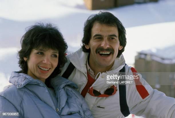 Michel Fugain et son épouse Stéphanie au Festival d'Avoriaz le 17 janvier 1983 France