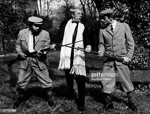 Michel Galabru Jean Rochefort And Charles Denner On Pied Nickeles In April 17Th 1964