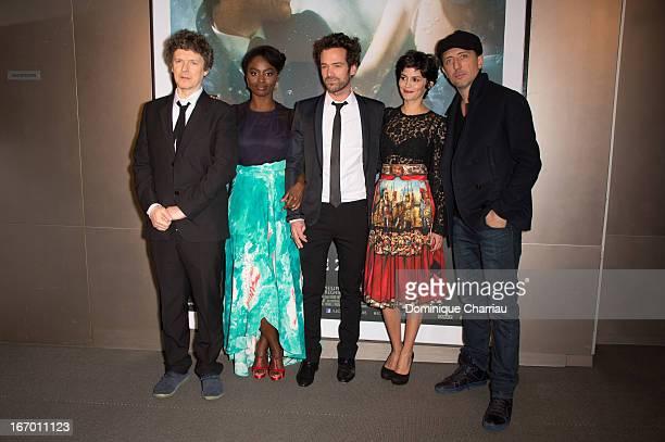 Michel Gondry Aissa Maiga Romain Duris Audrey Tautou and Gad Elmaleh attend the 'L'Ecume Des Jours' Paris Premiere at Cinema UGC Normandie on April...