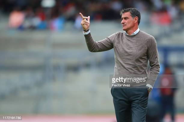 Michel Gonzalez Head Coach of Pumas gestures during the 12th round match between Pumas UNAM and Santos Laguna as part of the Torneo Apertura 2019...