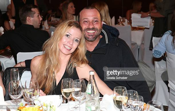 Michel Guillaume and his wife Georgia during the SIXT fashion dinner at Nockherberg on March 24 2015 in Munich Germany