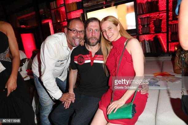 MUNICH GERMANY JUNE 26 Michel Guillaume Oliver Korittke and his girlfriend Mirijam Verena Jeremic during the Movie meets Media Party during the...