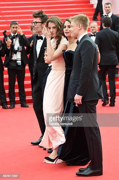 Michel Hazanavicius Abdul Khlim Mamamtsuiev Zukhra Duishvili Berenice Bejo and Maxim Emelianov attend 'The Search' Premiere at the 67th Annual Cannes...