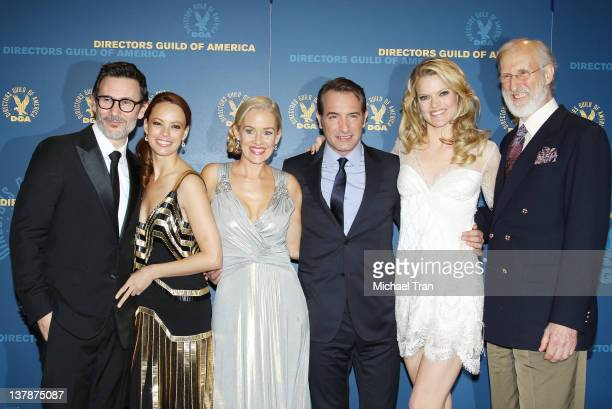 Michel Hazanavicius Berenice Bejo Penelope Ann Miller Jean Dujardin Missi Pyle and James Cromwell attend the 64th Annual DGA Awards press room held...