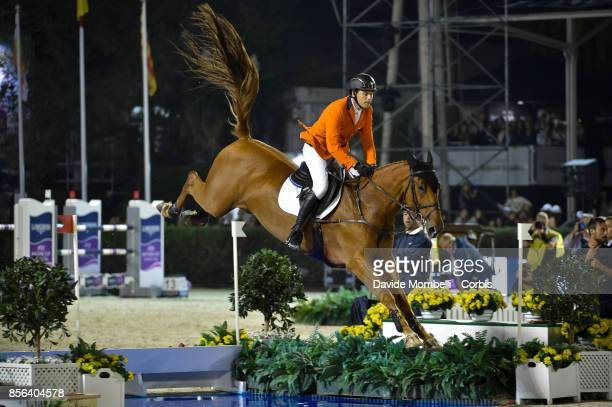 Michel Hendrix of Netherlands riding BAILEYS during the Longines FEI Nations Cup Jumping Final Final Competition at CSIO Barcelona in the Olympic...