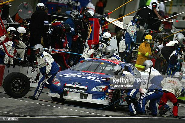 Michel Jourdain Jr. Of Mexico, driver of the Telcel Ford Taurus, pits his car during the Telcel Mexico 200 Nascar Busch Series Race at the Autrodromo...