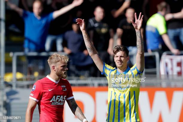 Michel Kramer of RKC Waalwijk Celebrates 1-0 during the Dutch Eredivisie match between RKC Waalwijk v AZ Alkmaar at the Mandemakers Stadium on August...