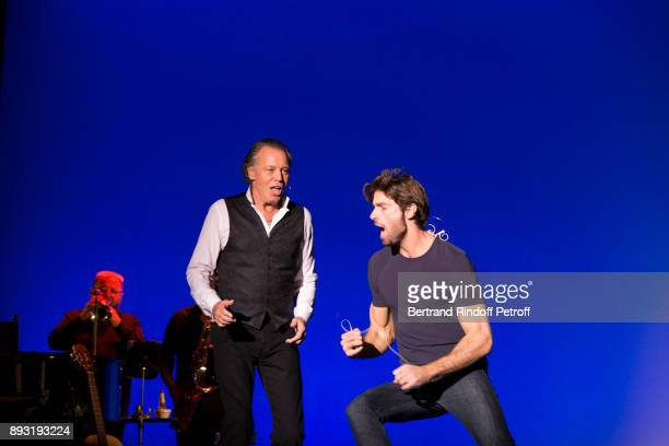 Michel Leeb and his son Tom Leeb perform during 'Michel Leeb 40 ans' Theater Show at Casino de Paris on December 14 2017 in Paris France