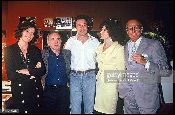 Michel Leeb and his wife Beatrice Charles Aznavour Fanny Ardant and Jacques Francois 100th representation of the play Je ne suis pas un Homme facile...